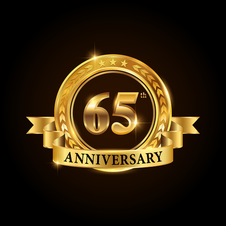 65 years anniversary celebration logotype. Golden anniversary emblem with ribbon. Design for booklet, leaflet, magazine, brochure, poster, web, invitation or greeting card. Vector illustration.