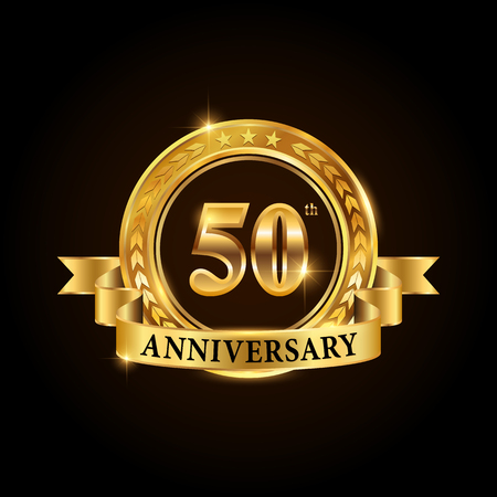 50 years anniversary celebration icon. Golden anniversary emblem with ribbon. Vectores