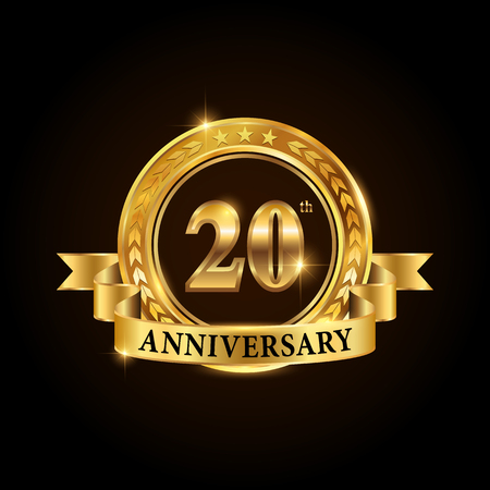 20 years anniversary celebration logotype. Golden anniversary emblem with ribbon. Design for booklet, leaflet, magazine, brochure, poster, web, invitation or greeting card. Vector illustration.