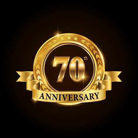 70 years anniversary celebration icon. Golden anniversary emblem with ribbon. Illustration