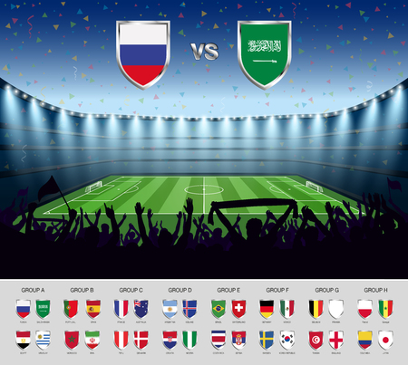 Soccer match Russia 2018 with excited crowd of people at soccer stadium background. Summer football tournament. Vector illustration.