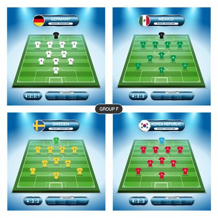 Soccer team player plan. Group F with flags. Ilustração
