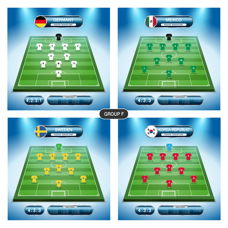Soccer team player plan. Group F with flags. Illustration