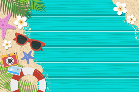 Summer background. Top view with sunglasses, starfish, camera, lifebuoy, flower and leaf on blue wooden background. Season vacation, weekend. Vector Illustration.