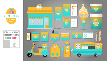 Corporate identity template Set 3. Logo concept for ice cream shop, cafe, restaurant. Realistic mock up template set of shop, car, t-shirt, apron, cap, cup, menu, rubber stamp, scooter, coupon, package, cardboard, name card, bunting.