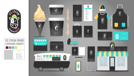 Corporate identity template Set 6. Logo concept for ice cream shop, cafe, restaurant. Realistic mock up template set of shop, car, t-shirt, cap, cup, menu, rubber stamp, coupon, package, mobile application, name card, tag, bunting.