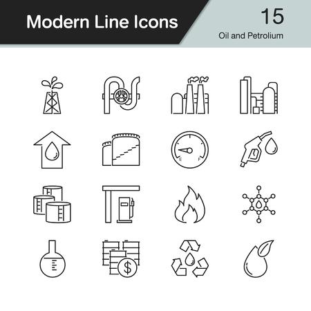 Oil and Petrolium icons. Modern line design set 15. For presentation, graphic design, mobile application, web design, infographics. Vector illustration.