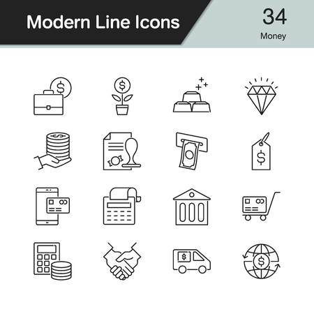 Money icons. Modern line design set. For presentation, graphic design, mobile application, web design, infographics. Vector illustration.