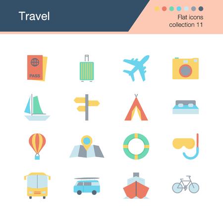 Travel icons. Flat design collection 11. For presentation, graphic design, mobile application, web design, infographics. Vector illustration.