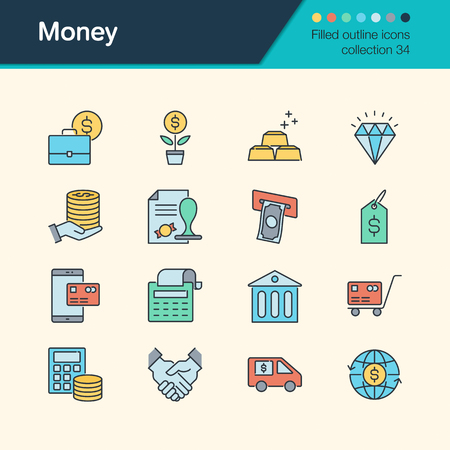 Money icons. Filled outline design collection 34. For presentation, graphic design, mobile application, web design, infographics. Vector illustration.