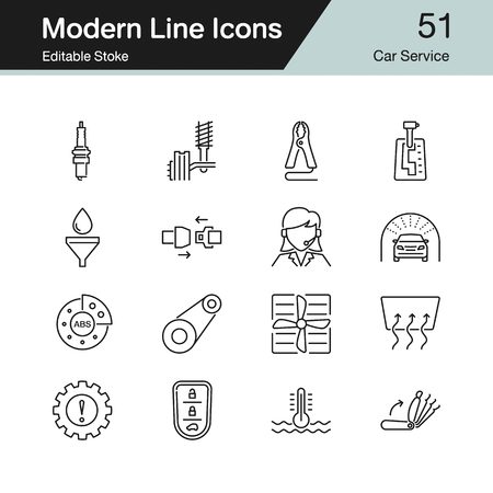 Car Service icons. Modern line design set 51. For presentation, graphic design, mobile application, web design, infographics. Editable Stroke. Vector illust