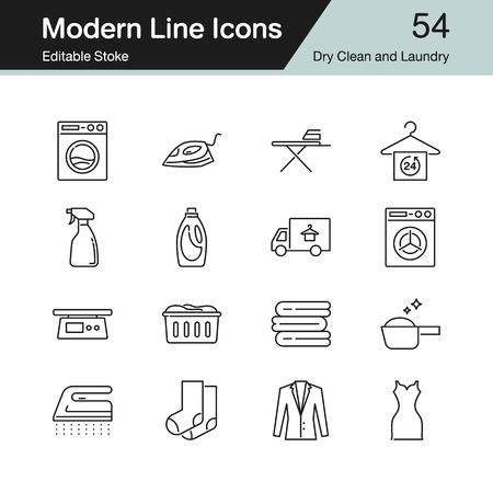 Chemische Reinigung und Wäscherei-Symbole. Modernes Liniendesign-Set 54. Für Präsentation, Grafikdesign, mobile Anwendung, Webdesign, Infografiken. Bearbeitbarer Strich. Vektor-Illustration. Vektorgrafik