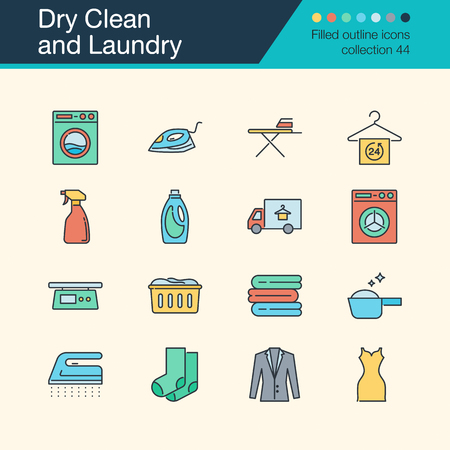Dry Clean and Laundry icons. Filled outline design collection 54. For presentation, graphic design, mobile application, web design, infographics. Vector illustration.