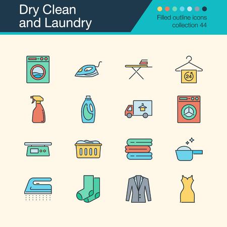 Symbole für chemische Reinigung und Wäsche. Gefüllte Entwurfssammlung 54. Für Präsentation, Grafikdesign, mobile Anwendung, Webdesign, Infografiken. Vektorillustration.