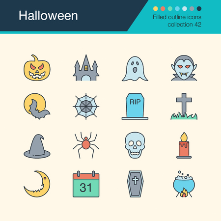 Halloween icons. Filled outline design collection 52. For presentation, graphic design, mobile application, web design, infographics. Vector illustration.