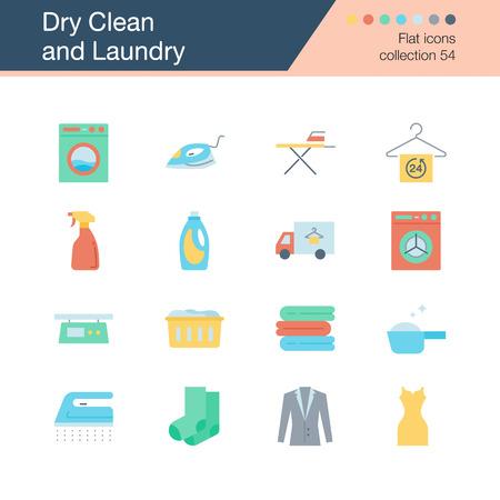Symbole für chemische Reinigung und Wäsche. Flache Designkollektion 54. Für Präsentation, Grafikdesign, mobile Anwendung, Webdesign, Infografiken. Vektorillustration.