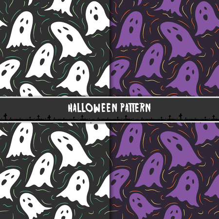Halloween seamless pattern with cute cartoon ghosts. Design for background, wallpaper or gift wrapping paper. Vector illustration.