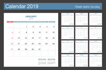 2019 Calendar. Desk Calendar modern design template. Week starts Sunday. Vector illustration.