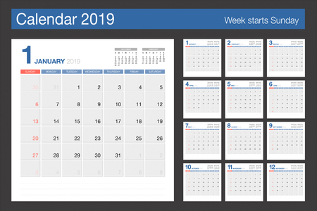 2019 Calendar. Desk Calendar modern design template. Week starts Sunday. Vector illustration. 版權商用圖片 - 110474992