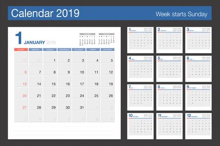 Calendario 2019. Modello di design moderno calendario da tavolo. La settimana inizia domenica. Illustrazione vettoriale.