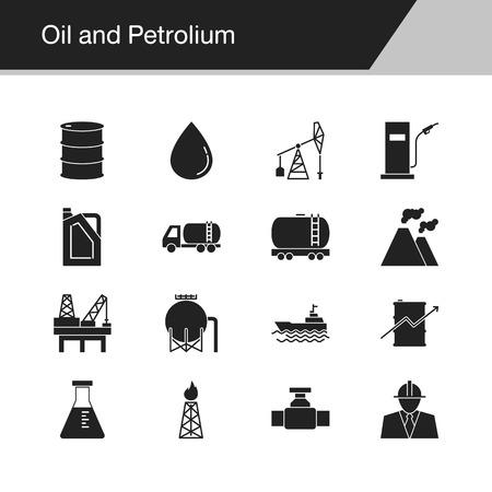Oil and Petrolium icons. Design for presentation, graphic design, mobile application, web design, infographics. Vector illustration. Vektorové ilustrace