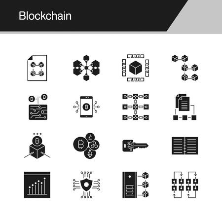 Blockchain icons. Design for presentation, graphic design, mobile application, web design, infographics. Vector illustration.