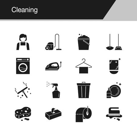 Reinigungssymbole. Design für Präsentation, Grafikdesign, mobile Anwendung, Webdesign, Infografiken. Vektorillustration.