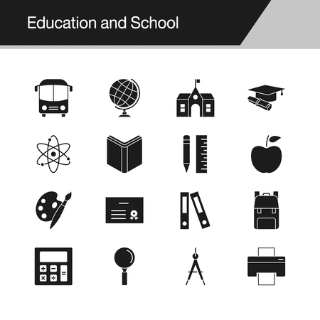 Education and School icons. Design for presentation, graphic design, mobile application, web design, infographics. Vector illustration. Illustration