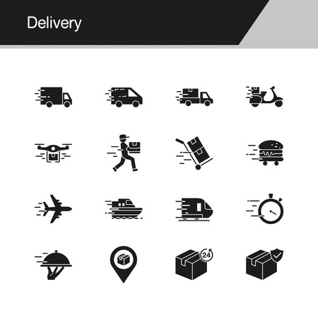 Delivery icons. Design for presentation, graphic design, mobile application, web design, infographics. Vector illustration.