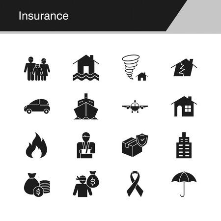Insurance icons. Design for presentation, graphic design, mobile application, web design, infographics. Vector illustration. Illustration