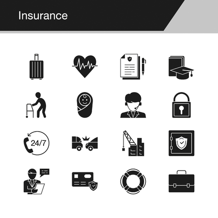 Insurance icons. Design for presentation, graphic design, mobile application, web design, infographics. Vector illustration. Stock Illustratie
