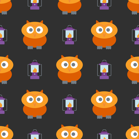 Halloween seamless pattern with cute owl and lantern background. Design for background, wallpaper or gift wrapping paper. Vector illustration.