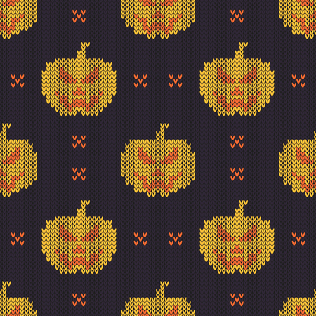 Halloween knitted pattern. Seamless Knitting Texture with cute pumpkin. Design for sweater, scarf, comforter or clothes texture. Vector illustration. Stock Illustratie