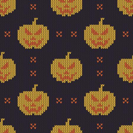 Modèle tricoté Halloween. Texture de tricot sans couture avec citrouille mignonne. Conception pour pull, écharpe, couette ou texture de vêtements. Illustration vectorielle.