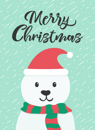 Christmas and New year greeting or invitation card. White cute bear with hat and scarf on winter background. Vector illustration.