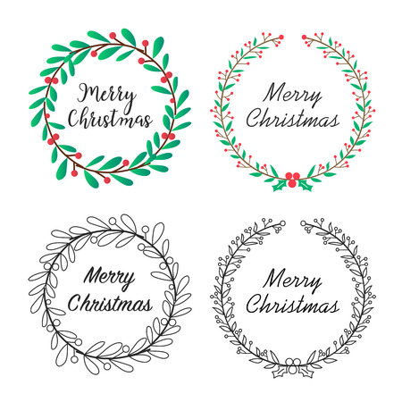 Christmas wreath with floral decoration and lettering design set. Season greeting or invitation card. Vector illustration.