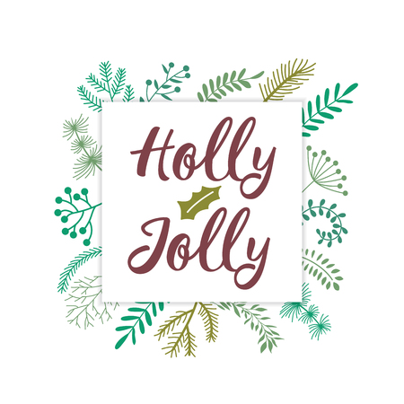 Christmas and New year greeting or invitation card. Christmas lettering design with wreath decoration.Vector illustration.