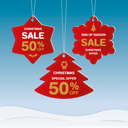 Merry Christmas and Happy new year discount label design. Vector illustration.