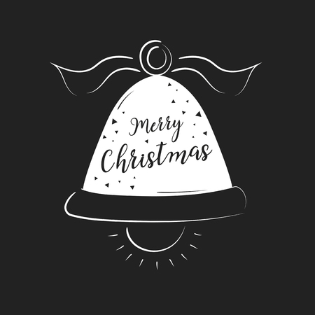 Merry Christmas lettering design and decoration. Season greeting or invitation card. Vector illustration.