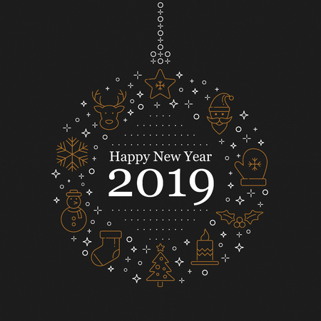 Happy new year 2019 lettering design and decoration. Season greeting or invitation card. Vector illustration.