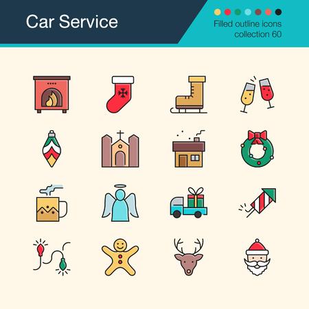 Christmas decoration icons. Modern line design set 60. For presentation, graphic design, mobile application, web design, infographics, UI. Vector illustration.