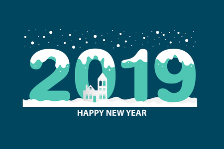 Happy new year 2019 text design with winter background. Vector illustration.