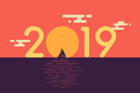 Happy new year 2019 text design with sailboat and beautiful sunset background. Flat design. Vector illustration. 일러스트
