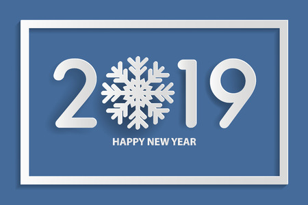 Happy new year 2019 text design with snowflake. Paper art style. Vector illustration.