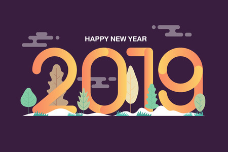 Happy new year 2019 text design with leaves background. Gradient and multicolor flat design. Vector illustration.