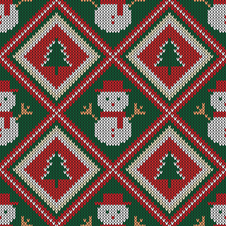 Christmas knitted pattern. Winter geometric seamless pattern. Design for sweater, scarf, comforter or clothes texture. Vector illustration.
