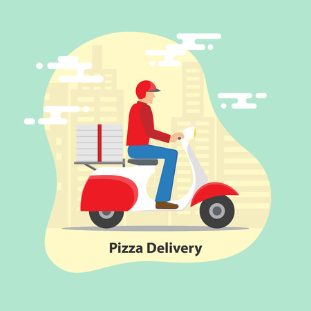 Pizza delivery concept. Delivery scooter motorcycle with pizza boxes on city background. Vector illustration.
