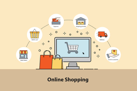 Online Shopping concept. Infographic design elements how to oder with 6 steps for E-commerce. Vector illustration