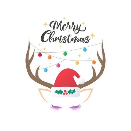 Christmas and New year greeting or invitation card. Christmas lettering design with reindeer and decoration.Vector illustration.