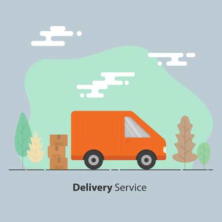 Delivery service concept. Van and cardboard boxes with fragile signs. Vector illustration.